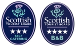 Scottish Tourist Board logos, 3 stars for East Challoch's self catering cottage and 4 stars for the B&B