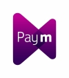 The Paym logo which looks like a purple bowtie with the Paym name on top in white
